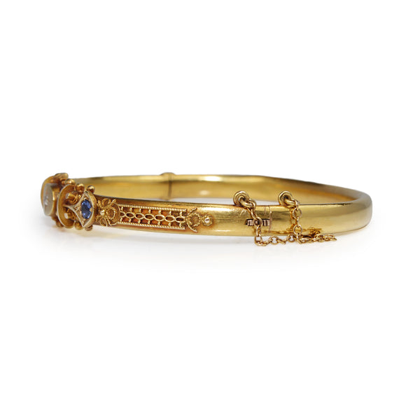 18ct Yellow Gold Antique Hinged Sapphire and Diamond Bangle