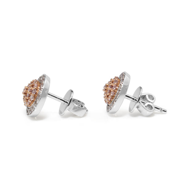 18ct White and Rose Gold Pink and White Diamond Earrings