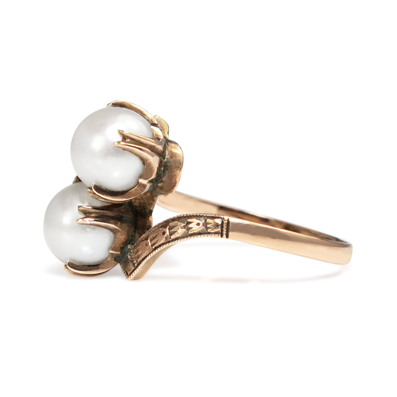 10ct Rose Gold Antique Cultured Pearl 'Moi et Toi' Ring