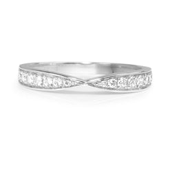 18ct White Gold Diamond Half Hoop Band
