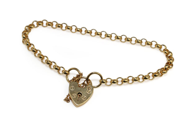 9ct Yellow Gold Fine Belcher Link Bracelet with Padlock