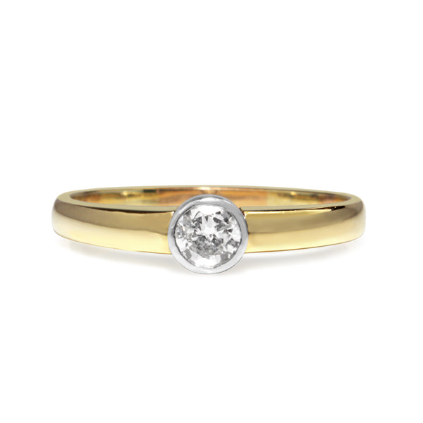 14ct Yellow and White Gold Diamond Bezel Solitaire Ring