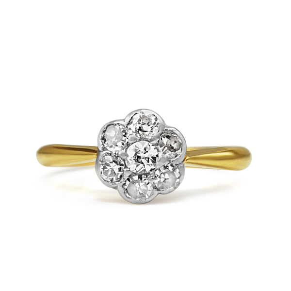 18ct Yellow and White Gold Antique Old Cut Diamond Daisy Ring