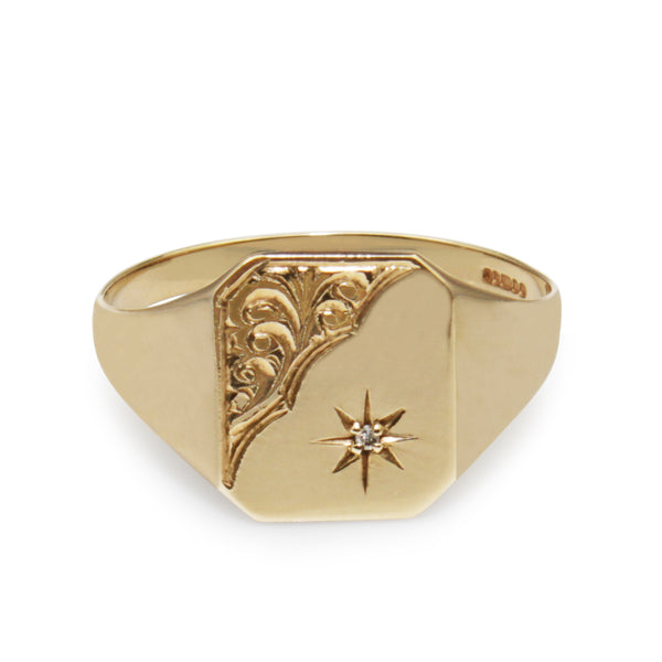 9ct Yellow Gold Vintage Signet Ring with Diamond