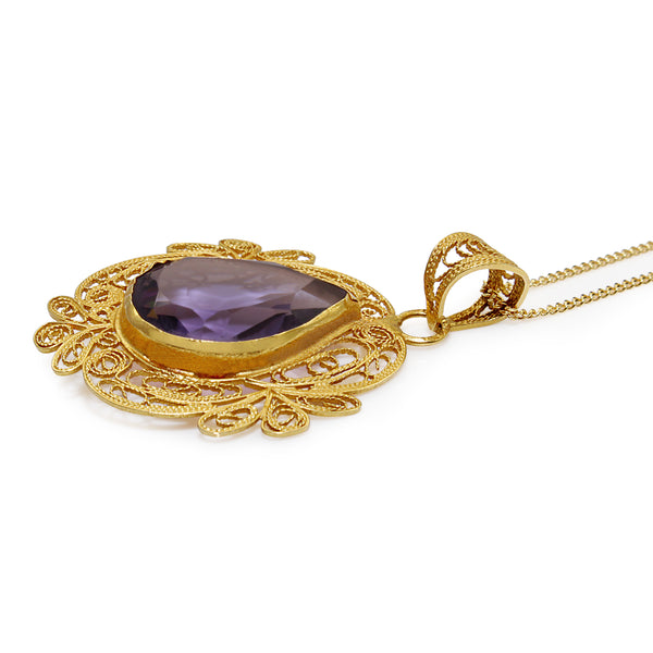 18ct Yellow Gold Vintage Amethyst Pendant