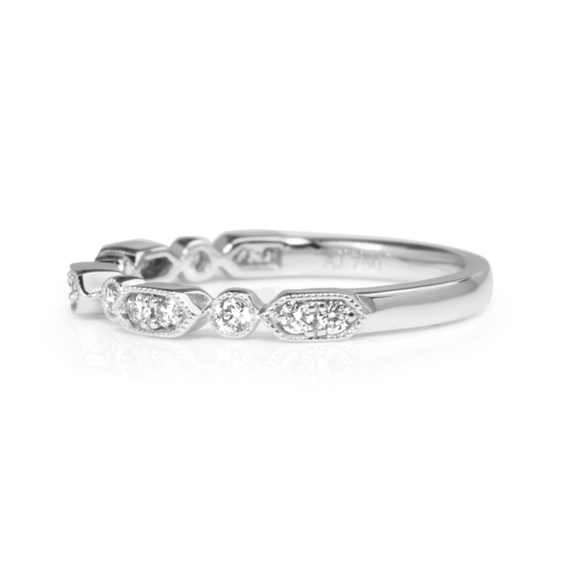 18ct White Gold Vintage Style Diamond Half Hoop Band