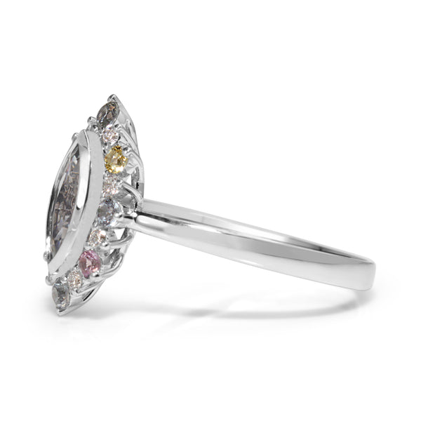 18ct White Gold Sapphire and Diamond Marquise Ring