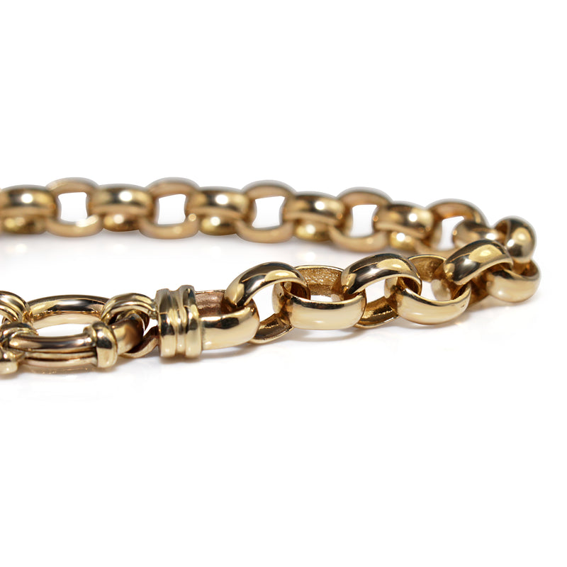 9ct Yellow Gold Belcher Link Bracelet with Bolt Clasp