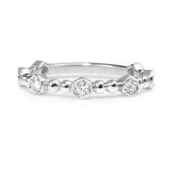18ct White Gold Diamond 'Hexagon' Band