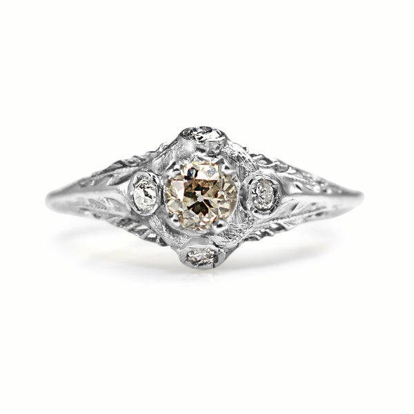 14ct White Gold Antique Old Cut Champagne Diamond Ring