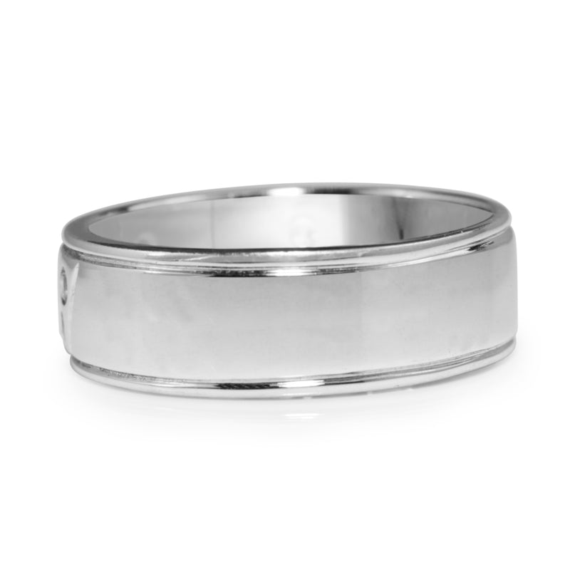 18ct White Gold Diamond Mens Ring