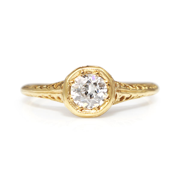 14ct Yellow Gold Antique Old Cut Diamond Solitaire Ring