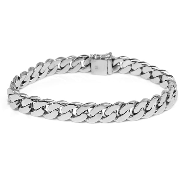 9ct White Gold Estate Flat Curb Link Bracelet