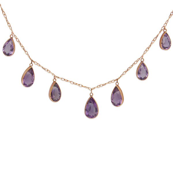 9ct Rose Gold Antique Amethyst Collier Necklace