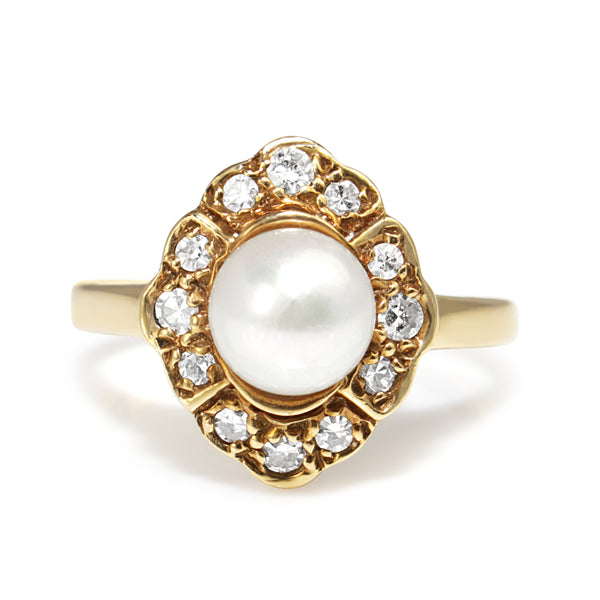 14ct Yellow Gold Vintage Cultured Pearl and Diamond Halo Ring