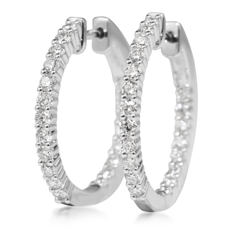 18ct White Gold 1.60ct Diamond Hoop Earrings