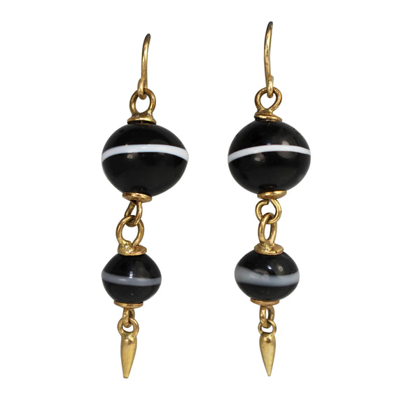 9ct Yellow Gold Antique Agate Drop Earrings
