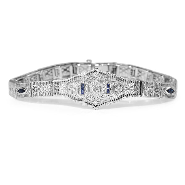 10ct White Gold Art Deco Sapphire and Diamond Filigree Bracelet