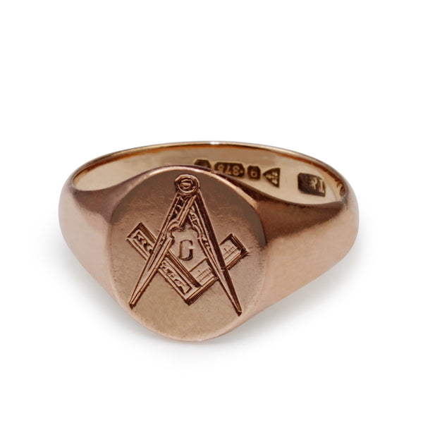 9ct Rose Gold Masonic Vintage Signet Ring