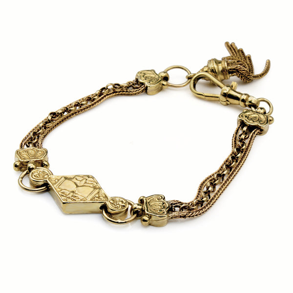 9ct Yellow Gold Antique Albertina Bracelet