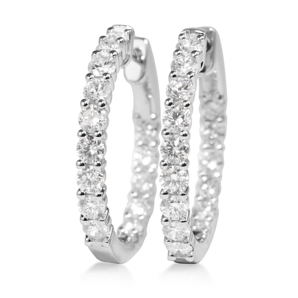 18ct White Gold 2.60ct Diamond Hoop Earrings