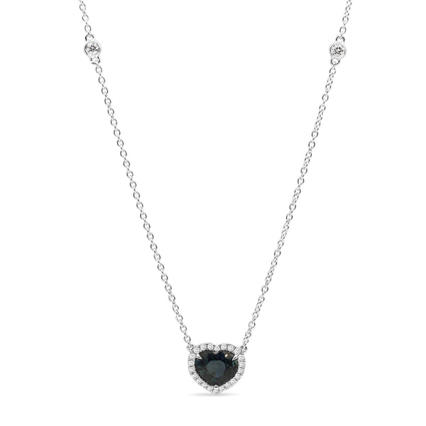 18ct White Gold Sapphire Heart and Diamond Halo Necklace