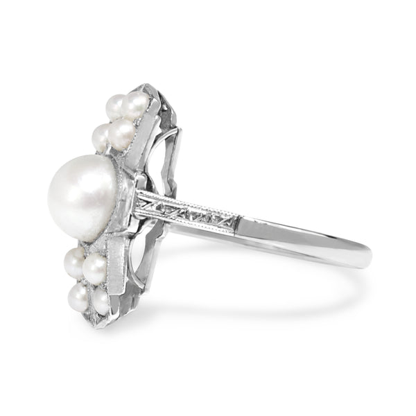 Platinum Art Deco Pearl Ring