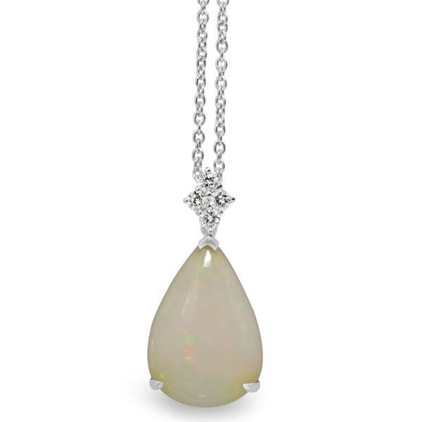 18ct White Gold Opal and Diamond Pendant