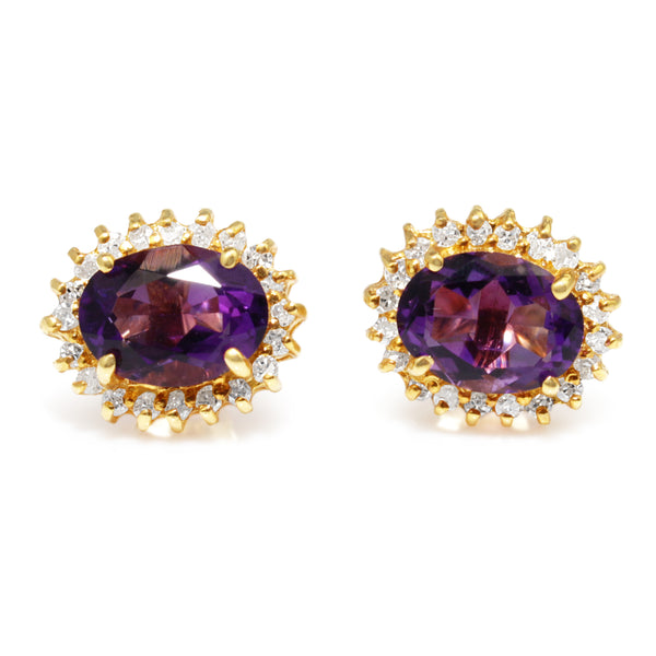 14ct Yellow Gold Amethyst and Diamond Stud Earrings