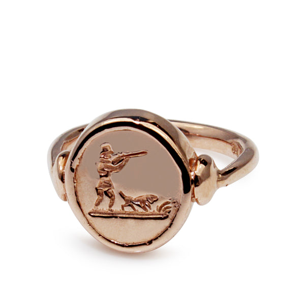9ct Rose Gold Hunting Signet Ring