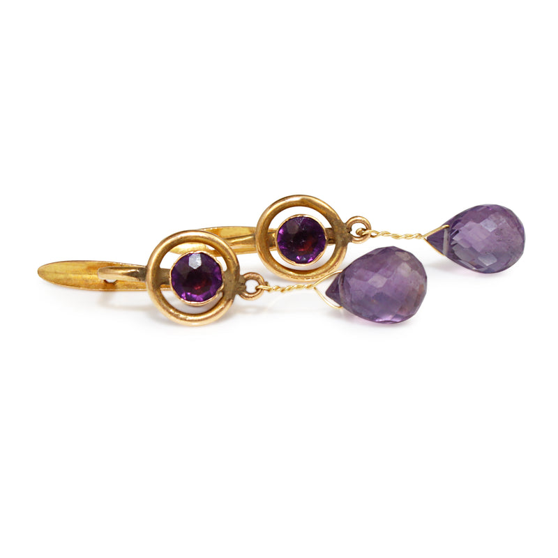 14ct Yellow Gold Amethyst Drop Earrings
