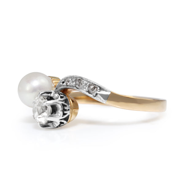18ct Yellow and White Gold Antique Pearl and Old Cut Diamond 'Moi et Toi' Ring