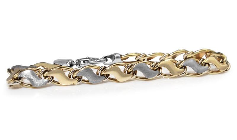 14ct Yellow and White Gold Fancy Link Bracelet