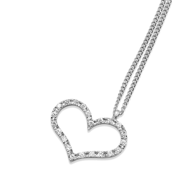 14ct White Gold Diamond Heart Pendant