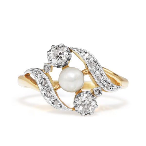 18ct Yellow Gold and Platinum Antique Pearl and Old Cut Diamond Ring