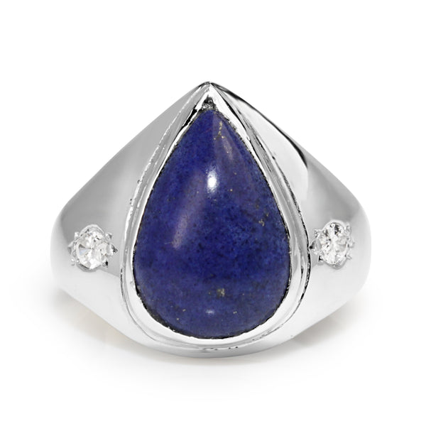18ct White Gold Vintage Lapis and Diamond Ring