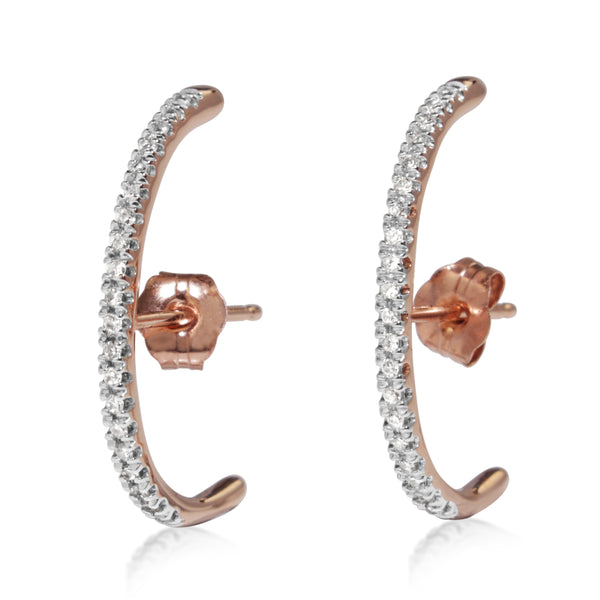 14ct Rose and White Gold Diamond Wrap Studs