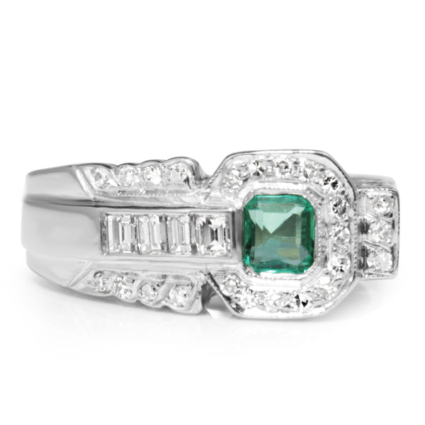 Palladium Retro Emerald and Diamond Ring