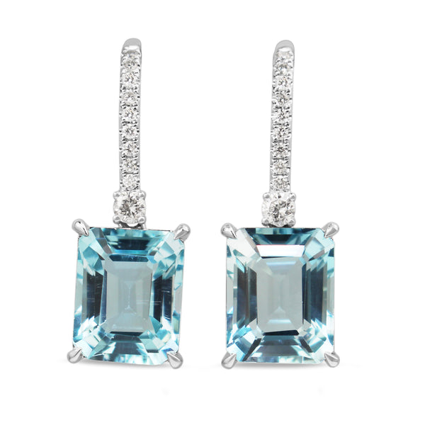 14ct White Gold Topaz and Diamond Drop Earrings