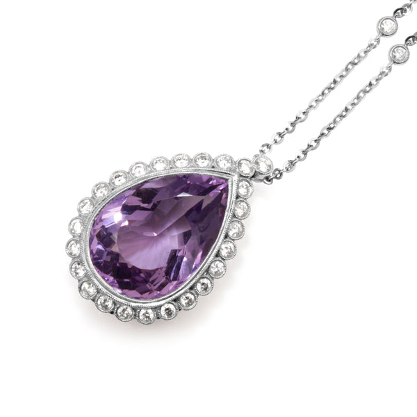 18ct White Gold Amethyst and Diamond Drop Necklace