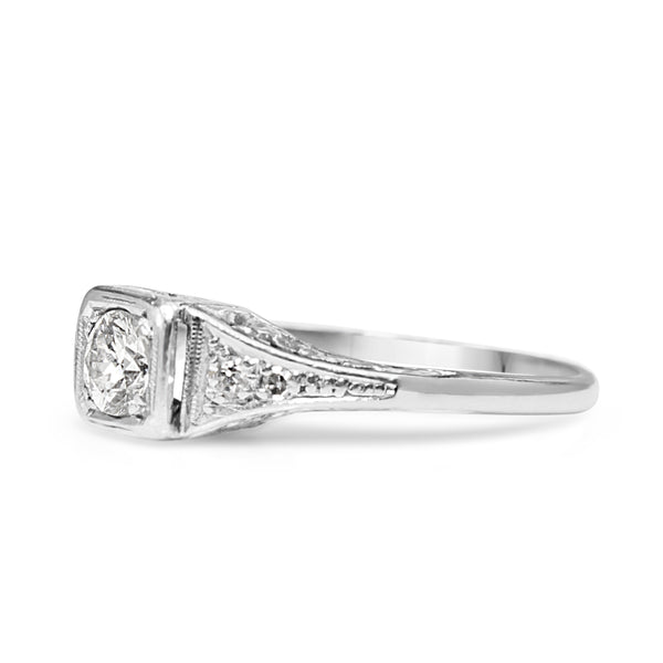 Platinum Art Deco Old Cut Diamond Solitaire Ring