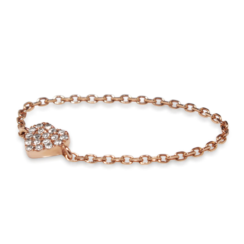 14ct Rose Gold Diamond Heart Chain Ring