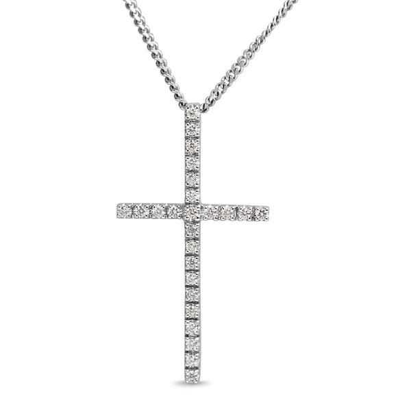 18ct White Gold Diamond Cross Necklace