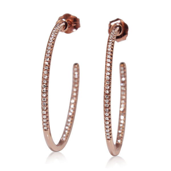 14ct Rose Gold Fine Diamond Hoop Earrings