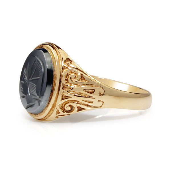 9ct Yellow Gold Haematite Vintage Signet Ring