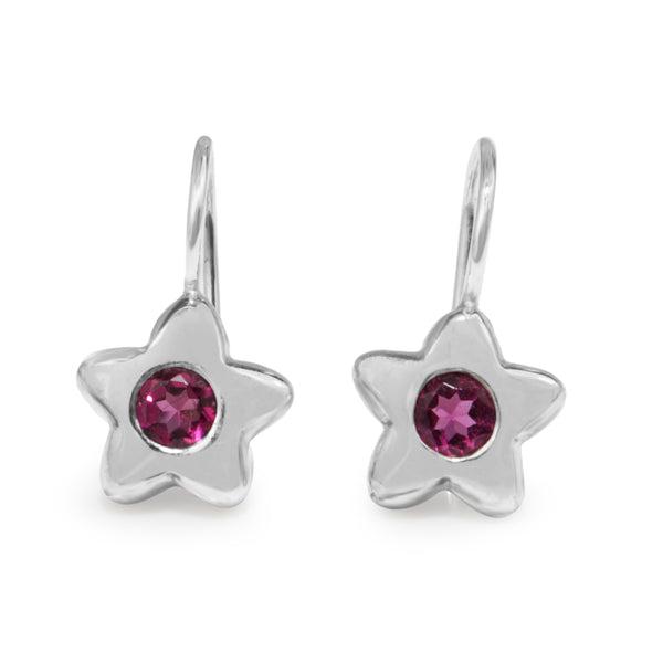 9ct White Gold Pink Sapphire Star Earrings