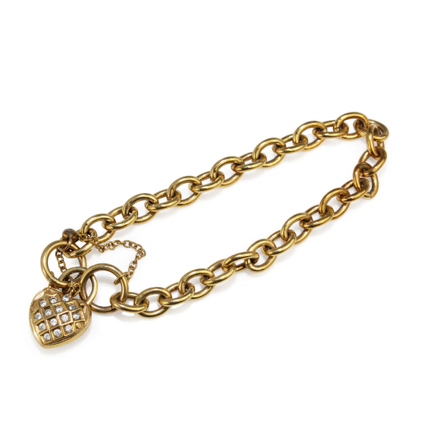 9ct Yellow Gold and Silver Filled Bracelet with Cubic Zirconia Heart Padlock