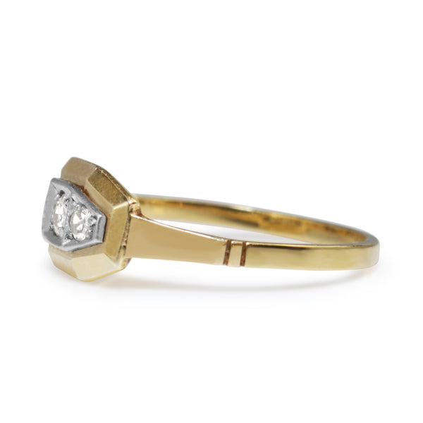 18ct Yellow and White Gold Art Deco Diamond Ring
