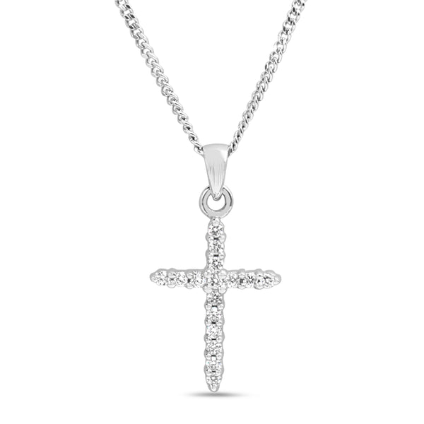 9ct White Gold Fine Diamond Cross Necklace