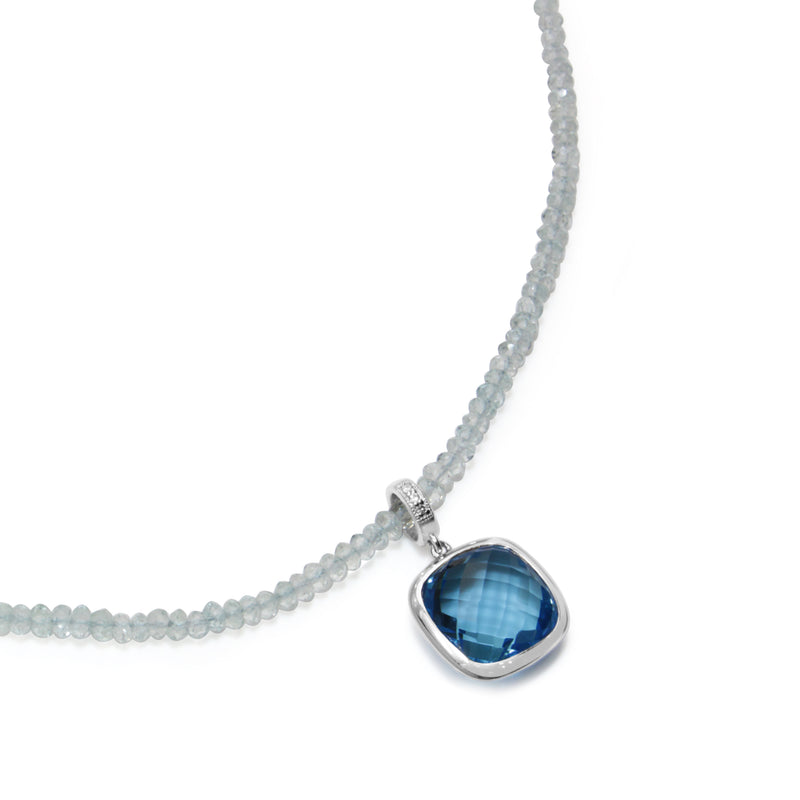9ct White Gold Faceted Topaz Necklace
